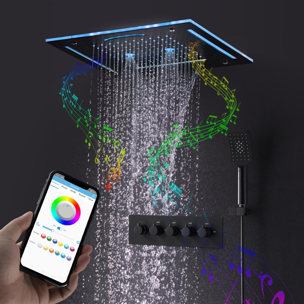 Modern Bluetooth Music LED Shower Set Matte Black Waterfall Rain Shower Head System Bathroom Thermostatic Mixer Shower Faucets black shower set luxurious bath system large rain waterfall concealed led shower head 600x800mm with thermostatic shower faucets