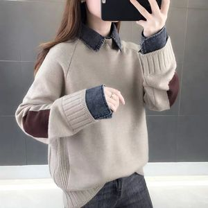 Spring 2020 Women's Holiday Two-piece Stitching Shirt Denim Collar Women's Sweater Thick Loose Sweater Top