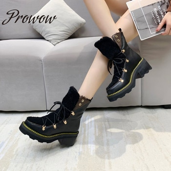 Prowow New Genuine Leather HIgh Quality Sheep Wool Ankle Boots Platform Heels Boots Luxury Deisgner Boots Women Zapatos Mujer