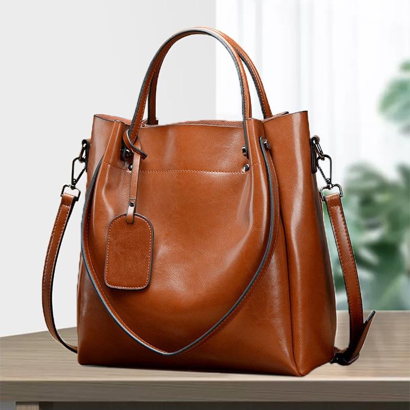 Luxury Designer Leather Shoulder Messenger Bag Women's Portable Large Bag Oil Wax Cowhide Bag Leather Handbags