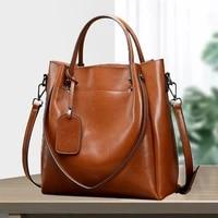 luxury designer leather shoulder messenger bag womens portable large bag oil wax cowhide bag leather handbags
