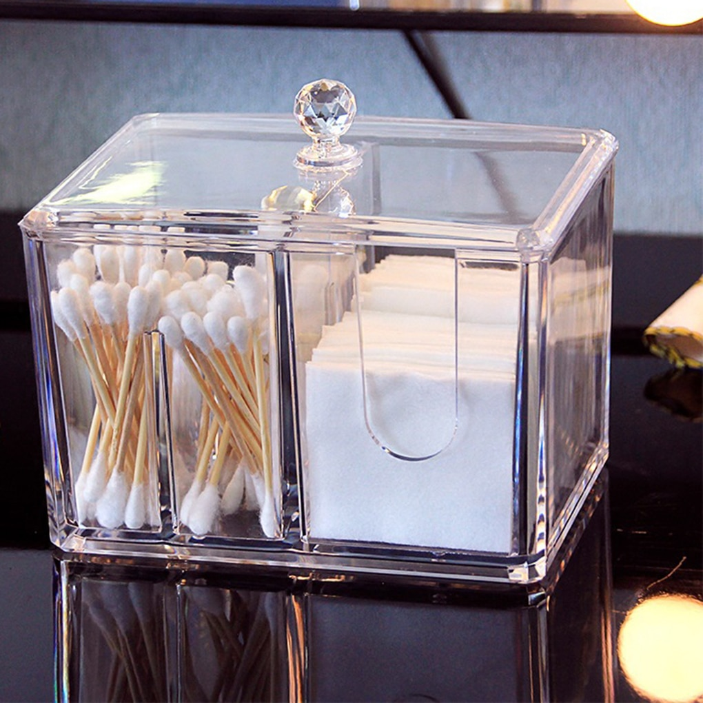 Feiqiong New Acrylic Cotton Swab Makeup Box Portable Clear Make Up Container Cotton Pad Holder Cosmetics Organizer Storage Box