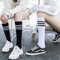 new sexy medias black white striped long socks women over knee thigh high over the knee stockings ladies girls warm knee socks