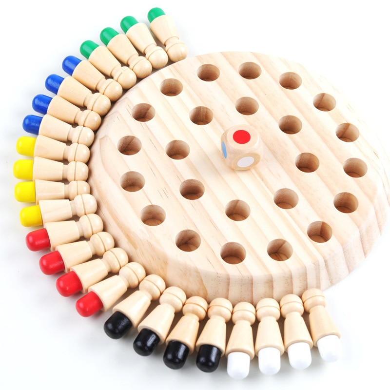 Children's Wooden Fun Blocks Memory Chess Toy Math Toy Educational Toys Montessori Memory Board Game For Children Kids Boy Gifts