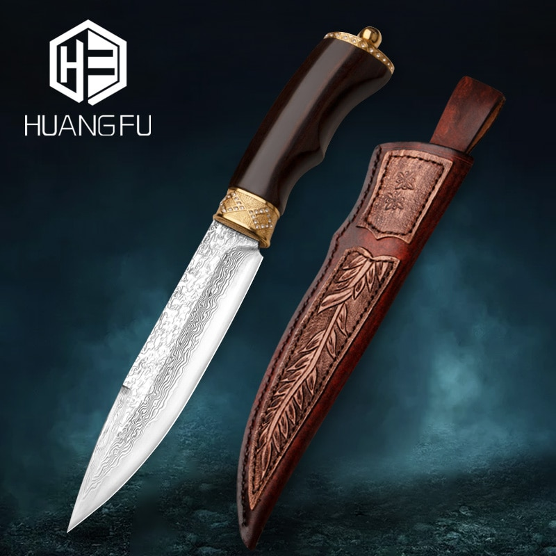 Filled Damascus Hunting Knife Handmade Knife High-end Collection Knife Fixed Blade Inlaid with 108 diamonds 24K Pure Gold
