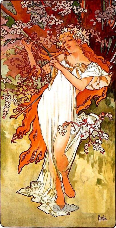 Alphonse Mucha (Alfons) pinturas al óleo de primavera lienzo arte impresa en la pared arte para la decoración del dormitorio de la sala de estar