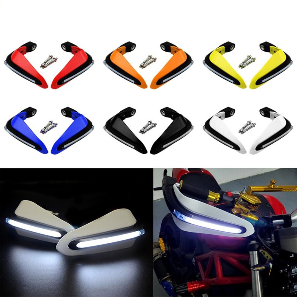 Protector de mano para motocicleta, luz LED de protección para parabrisas para SUZUKI gn 125 250 gsf 1200 bandit 600 650s gsr 250 gsx-r750, etc.