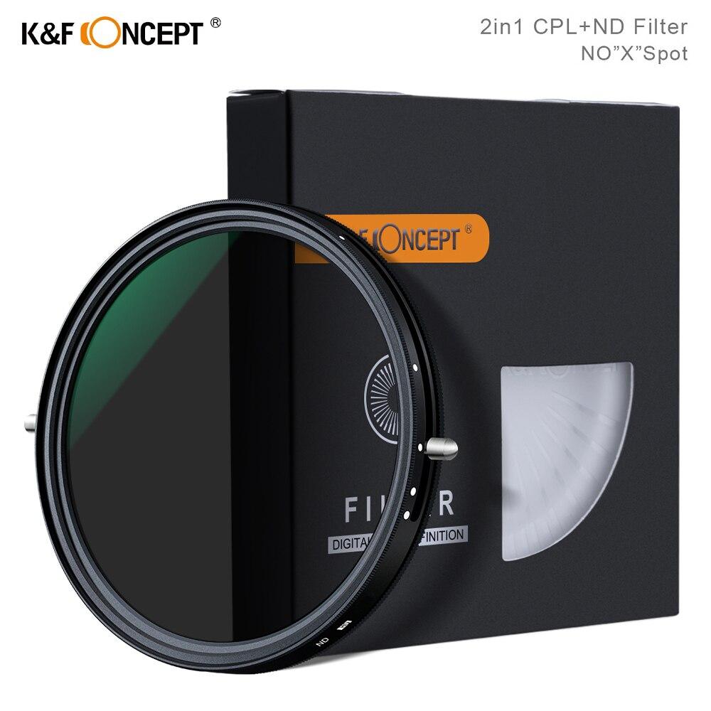 K & F Concept-مرشح استقطاب دائري 2 في 1 ، مرشح ND متغير CPL ، 67 مللي متر ، 72 مللي متر ، 77 مللي متر ، 82 مللي متر ، NO