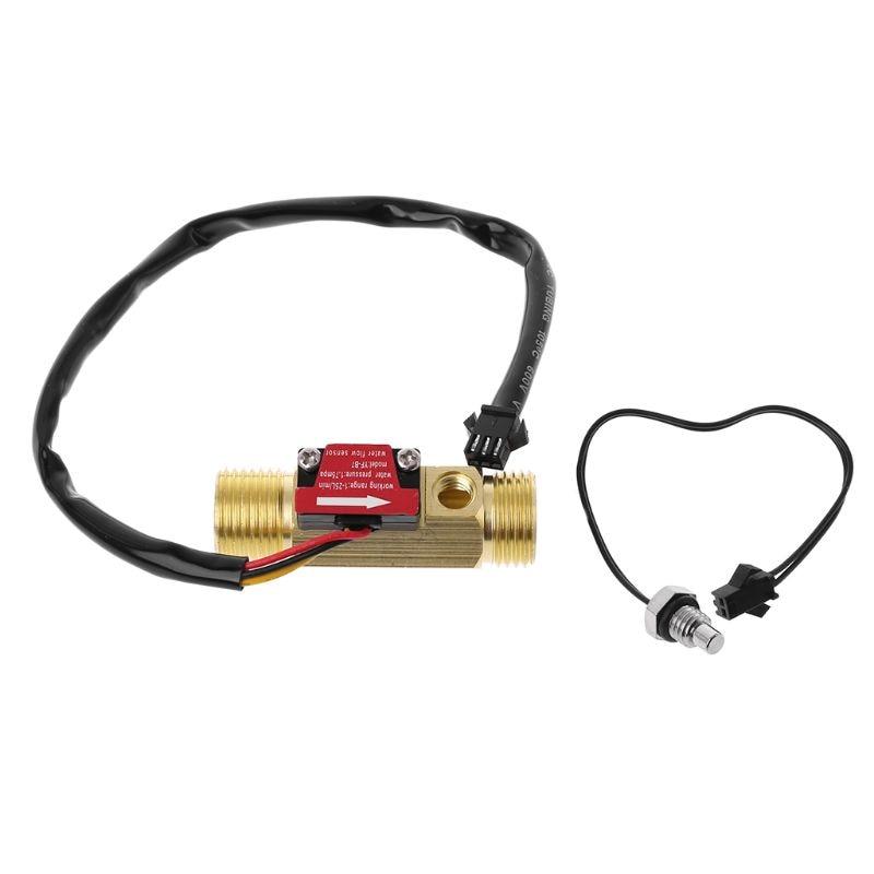 "Medidor de flujo de sala de latón G1/2  ""medidor de temperatura NTC medidor de Sensor de Flujo de Agua H7ED"