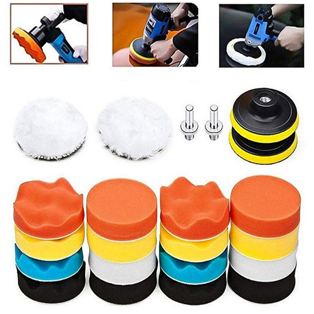 7Pcs Buffing Pad Set  3 inch Auto Car Polishing Pad Kit for Car Polisher + Drill Adaptor  Power Tools Accessories