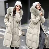 down jacket 2021 winter new style ladies winter fashion mid length over knee warmth tide white duck down waist parker