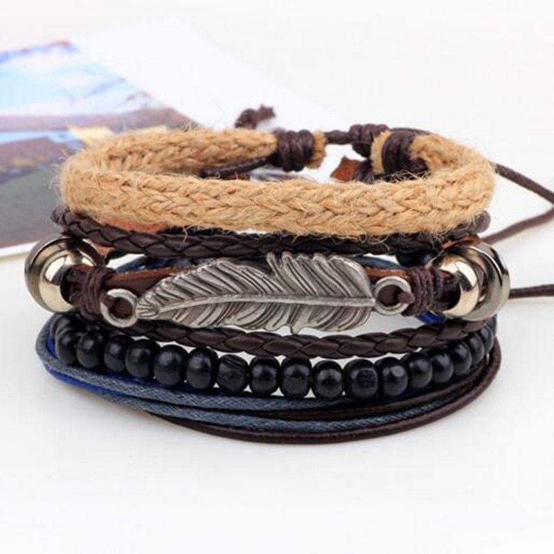 Vintage Blatt Feder Multilayer Leder Armband Männer Mode Geflochtene Handmade Star Seil Wrap Armbänder & Armreifen Männlich Geschenk
