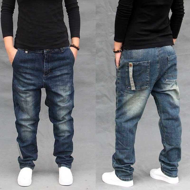 4 Season Harem Jeans Men Casual Loose Baggy Denim Pants Hip Hop Joggers Blue Trousers Man Clothing