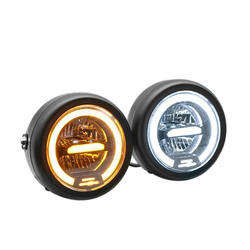 Universal Black 6' Round Motorcycle Headlight White Lens Light For Harley