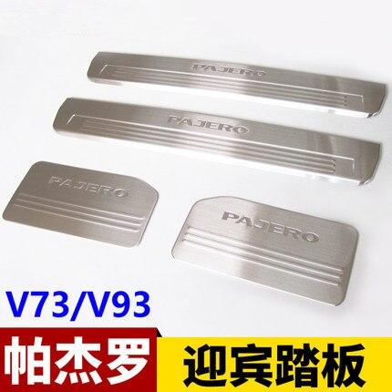 O envio gratuito de aço inoxidável lado do peitoril da porta scuff placa guarnição 4 peças apto para mitsubishi pajero v97 v93 v73 2003-2019