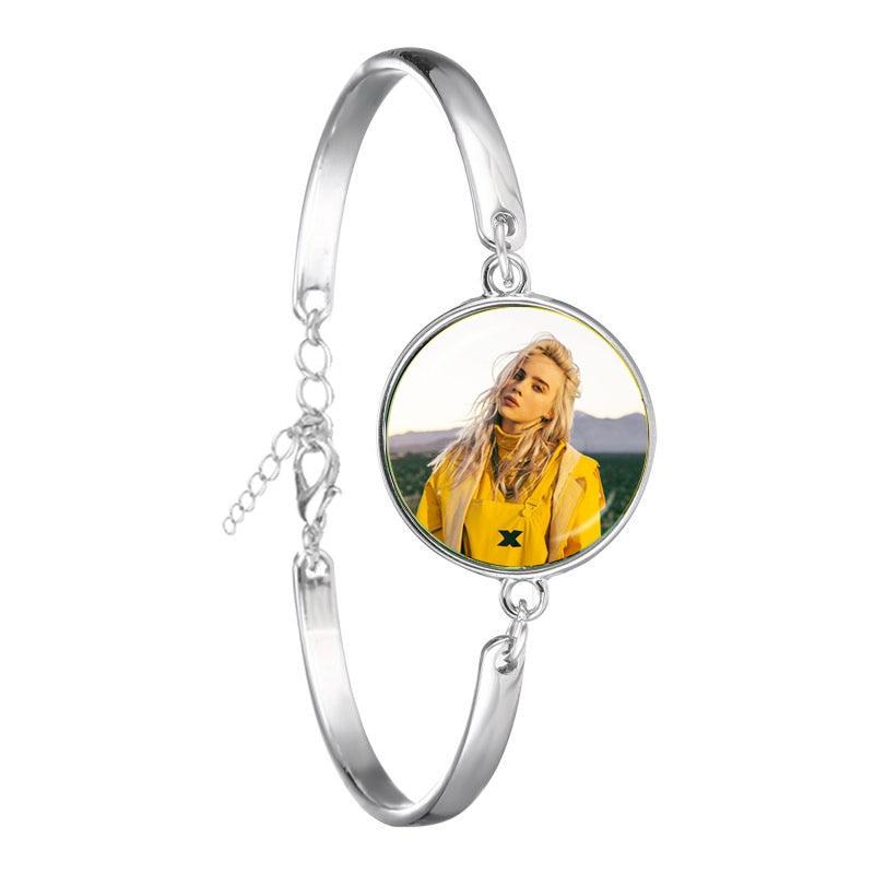 Hip-hop Music Chain Bracelet Billie Eilish Art Picture 18mm Glass Cabochon Jewelry For Women Girls Music Fans Gift