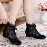 2020 new spring autumn hollowed out mesh boots womens genuine leather flat bottom short boots increased single shoes
