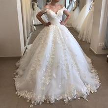 Épaules nues jupe gonflée robes de mariée 2020 moderne dentelle Applique florale arabe dubaï princesse église château robe de mariée mariée