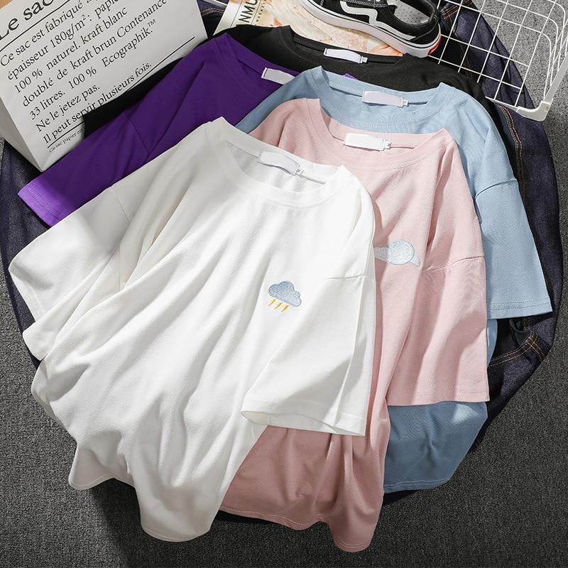 New T Shirt Women Cartoon Print Tops Tee Harajuku Summer Short Sleeve Casual Loose Korean Clothes Camiseta Mujer L0337