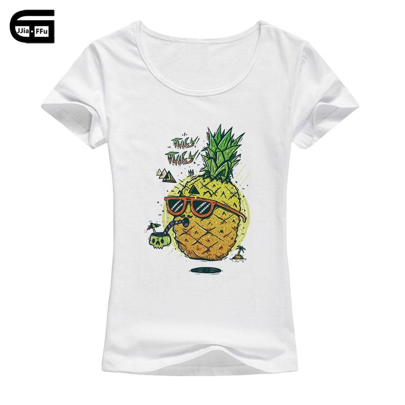 2018 verano Ananas camiseta mujer fruta impresa piña Juicy Kawaii Juicy manga corta Harajuku camiseta femenina Tops B141
