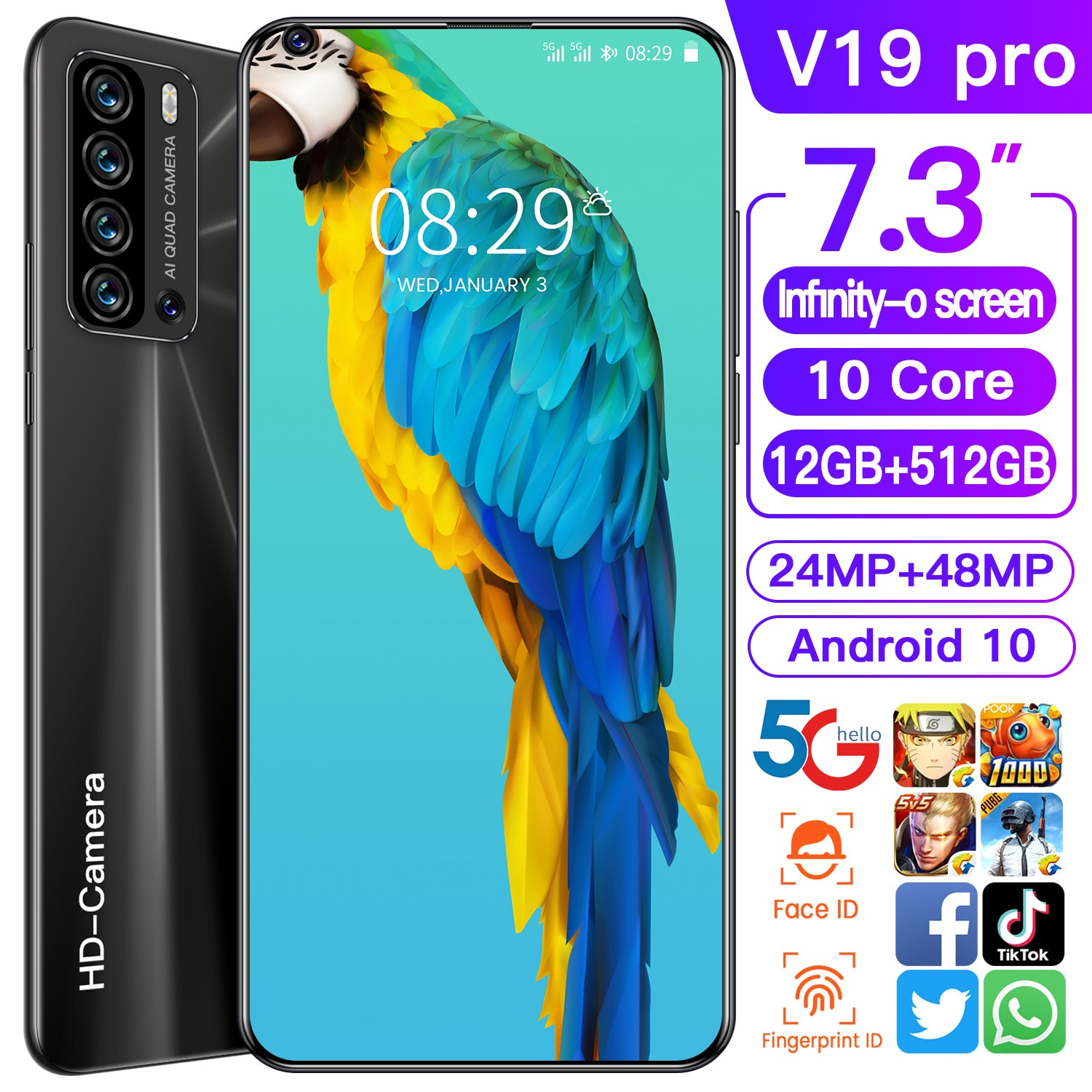 Global Unlocked Smart Phone V19 pro 6.8 Inch Full Screen 4G/5G Smartphone Android 12GB+512GB cell phone Dual Sim Mobile Phone