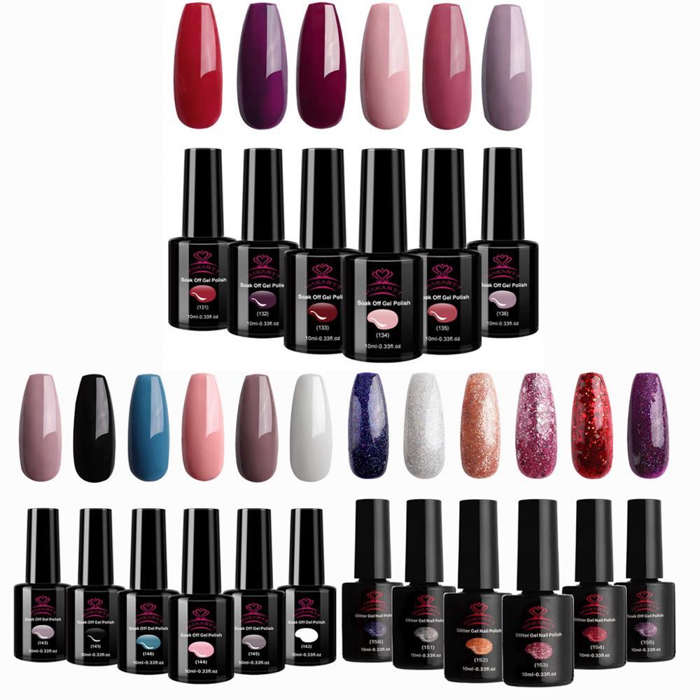 Набор гель-лаков для ногтей Makartt, набор гель-лаков для ногтей, 10 мл, 6 бутылок, модные цвета зимней УФ-светодиодной лампы, 6 шт. гель-лаков