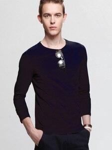 T Men 2020 Spring Shirt solid Color Round Neck Collar tShirt Thin Autumn Brand Clothing Cotton 6XL 7XL HGP001
