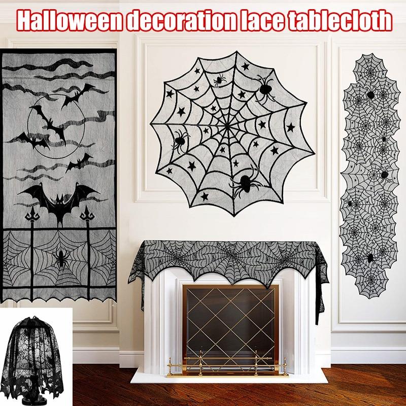 Nueva cortina de chimenea mantel Pantalla de lámpara decoración de Halloween encaje negro telaraña murciélagos estufa toalla para fiesta