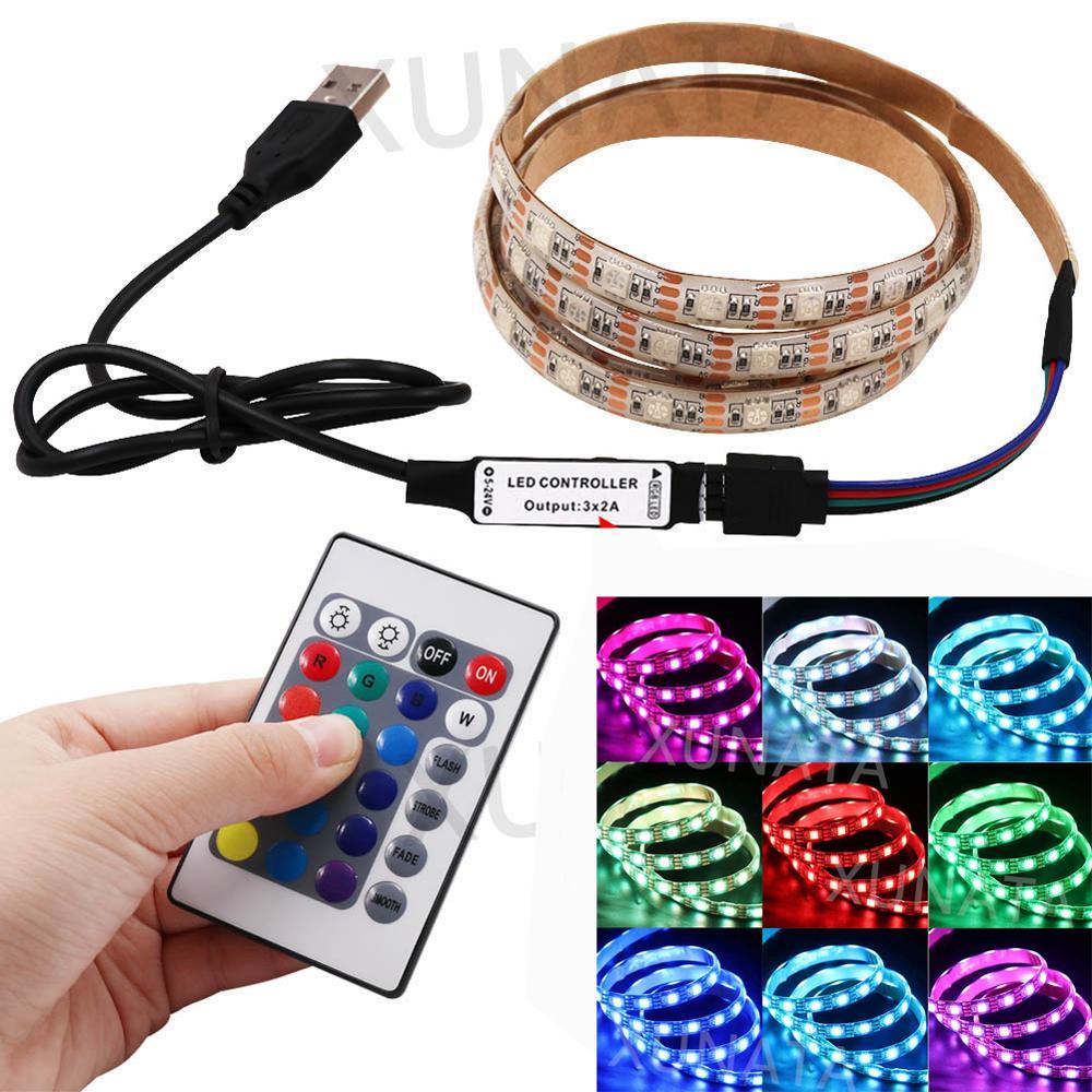 Tira de luces LED de 5V, 16 colores, tira de luces Led de 5V, USB RGB, impermeable, Flexible, luces traseras de televisor, cambio de color con Control remoto de 24 teclas