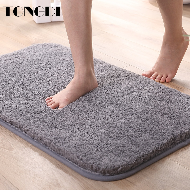 TONGDI Bathroom Carpet Mats Soft Shower Fannelette Microfiber Non-slip Rug Decoration For Home Living Kitchen Room parlour