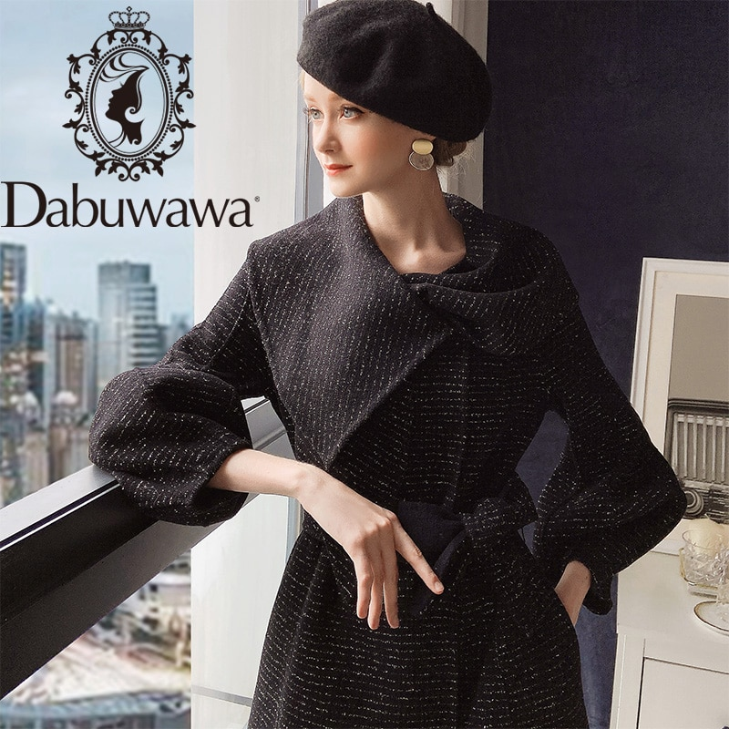 معطف صوف أنيق من Dabuwawa معطف نسائي بأكمام طويلة وشاحات حلوة من الحرير البراق معطف طويل ملابس خارجية لشتاء المكتب للسيدات DT1DLN025