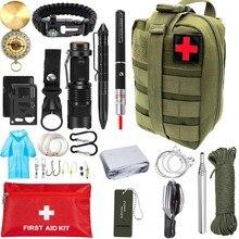 Outdoor Survival Kit Tragbare Erste hilfe Tourismus Ausrüstung Camping Werkzeuge Notfall Wandern Kit Pfeife Rettungs Tactical Pen