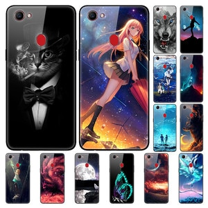 Case For OPPO F7 Back Phone Cover Black TPU Silicone Bumper With Tempered Glass