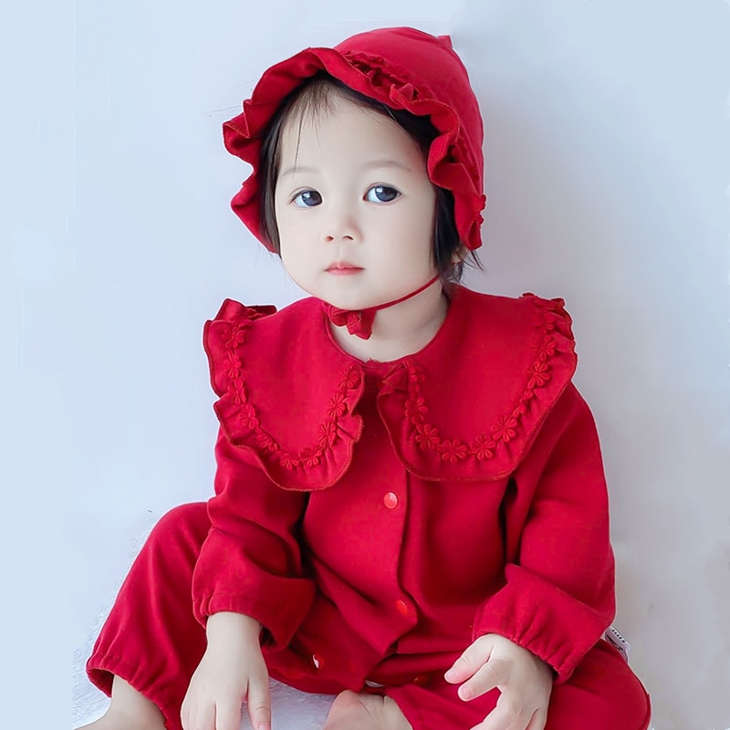 2pcs Newborn Baby Clothes Set Fashion Baby Girl Jumpsuits Costume Cotton Ruffle Fall Clothes for Toddler Girls Baby Clothing