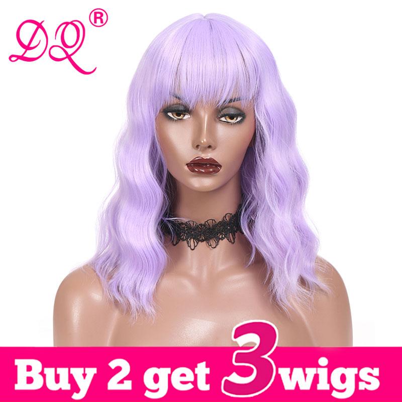 DQ Peluca de Bob corto con flequillo agua peluca sintética con ondas para mujeres alta temperatura fibra Rosa rubia azul púrpura marrón Ombre peluca