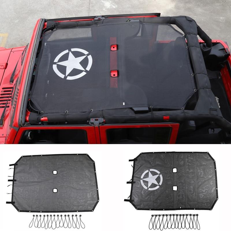 HYZHAUTO سيارة سقف ظلة شبكة ل جيب رانجلر JK اكسسوارات 4 أبواب 2007-2016 الظل أعلى الأشعة فوق البنفسجية واقية شبكة حماية غطاء