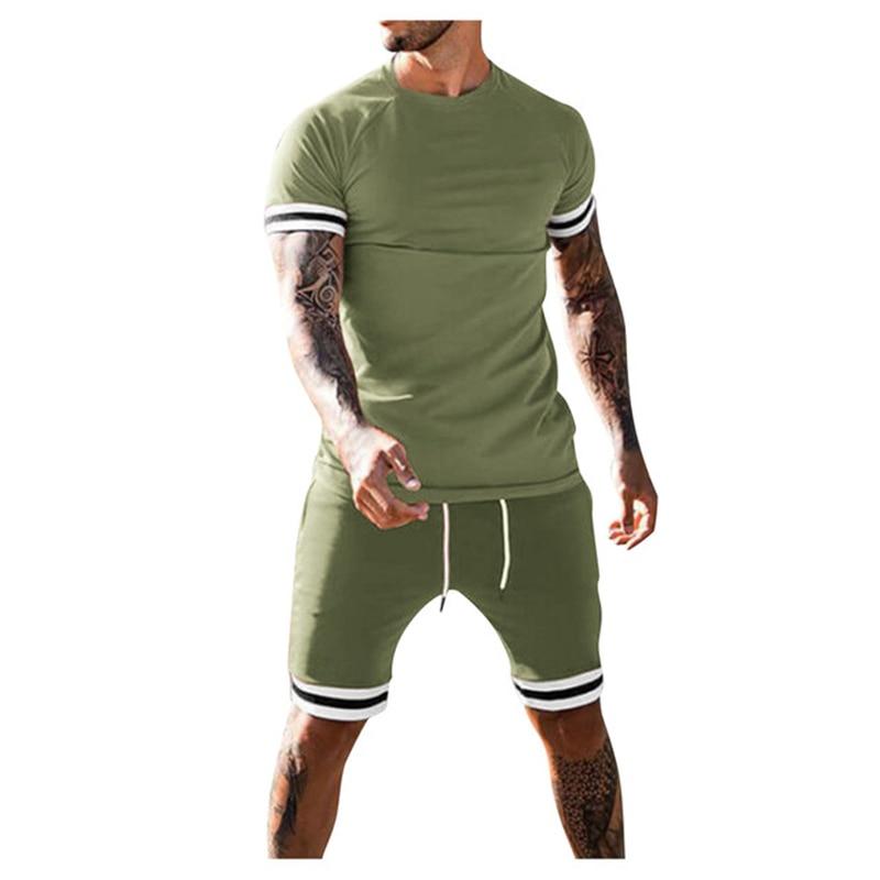 2021 спортивный костюм; Летний комплект из 2 предметов; Для мужчин комплекты мужской одежды комплект спортивной одежды, для фитнеса, с рисунко...