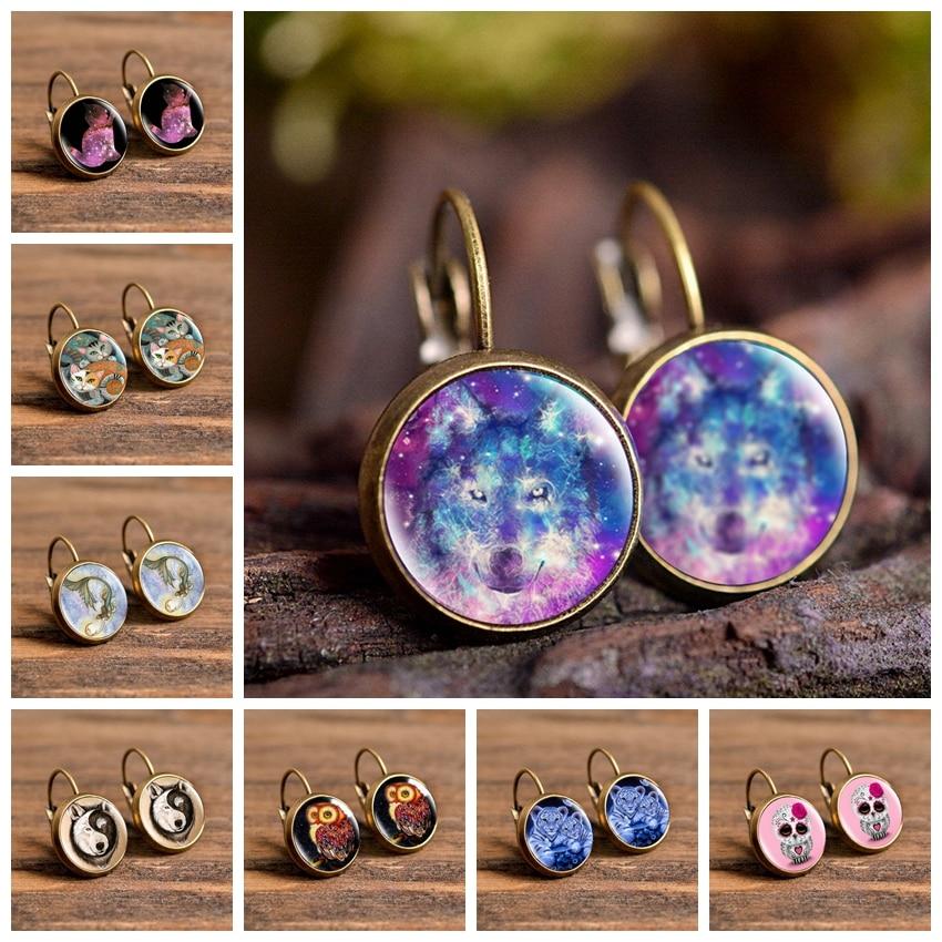 2019 New Fashion Wolf Tiger Cat Cartoon Style Handmade Earrings Jewelry Cartoon Dome Glass Stud Earrings Gifts for Women Girls