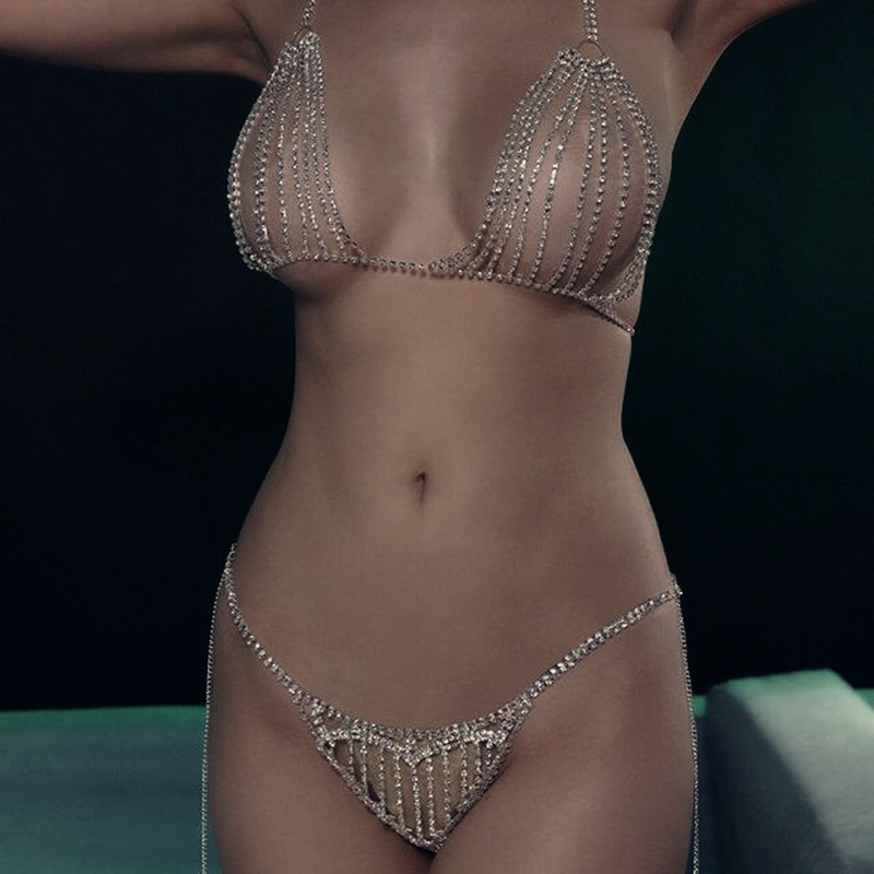 Strass cuerpo cadena collar Bikini sujetador cadena Top para mujer Sexy cristal ropa interior Tanga transparente bragas cuerpo Jewerly regalo