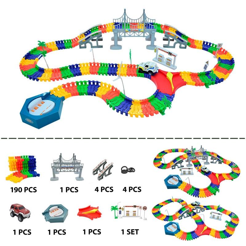 Набор гоночных треков «сделай сам», 190 шт., гоночный трек с сборкой автомобиля, гибкие трек-машины, игрушки для детей, подарки