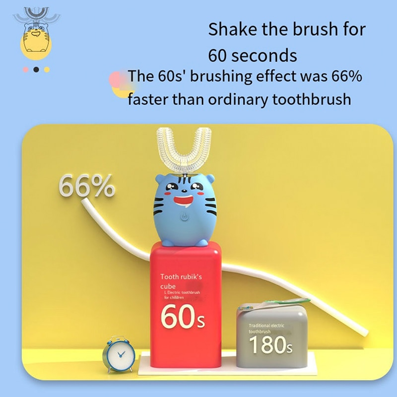 Smart Sonic XaoMi U-Shaped Electric Toothbrush With Replacement Head Washable Ultrasonic Whitening Toothbrush For Children enlarge