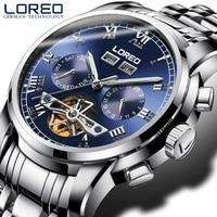 Multifunction Automatic Watches Mens LOREO Top Brand Luxury All steel Tourbillon Mechanical Watch 5Bar Waterproof Skeleton Watch