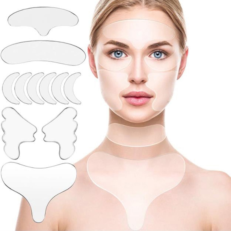 16pcs Reusable Silicone Wrinkle Removal Sticker Face Forehead Neck Eye Sticker Pad Anti Wrinkle Agin