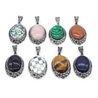 natural stone pendants tibetan silver color lapis lazuli pink crystal charms for necklace jewelry making diy handmade craft