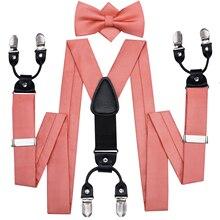 Hi-Tie 100% Silk Adult męska pończoch Bowtie Classic 3.5cm z 6 klipsami szelki moda ślubna Coral Peach BowTie Suspender Men