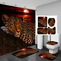Ensemble de rideaux avec 12 crochets  180x180cm  3 pieces  motif lune  leopard  fleur  guepard  pour salle de bain  douche  tapis de toilette  couvercle