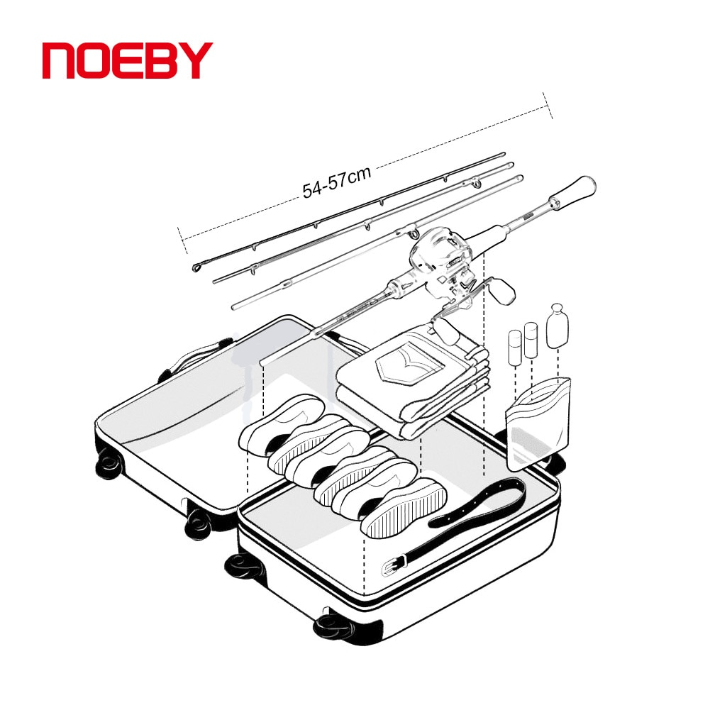 Noeby 4 section Travel Fishing Combo Rod and Reel Set Spinning Baitcasting 1.98m 2.13m Carbon Freshwater Saltwater Fishing Rod enlarge