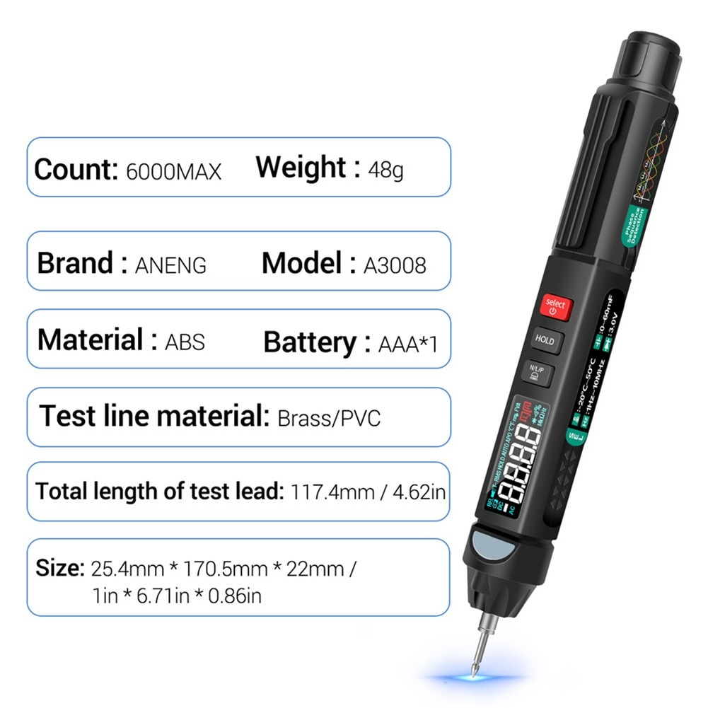 4000 Multimeter A3003 Counts Digital Multimeter Pen Type With Non Contact