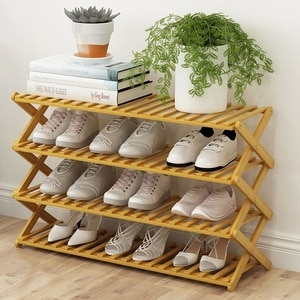 Household Bamboo Shoes Rack Wooden Foldable Shoe Cabinet Storage Shelf Shoes Organizer 4 Layers Dormitory Door Storage Rack