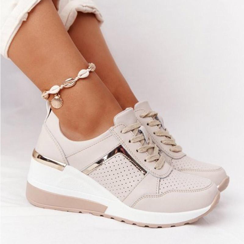 Women Fashion Shoes Solid Color Platform Shoes Casual Heels Ladies Mesh Sport Lace-Up Women Shoes Ou